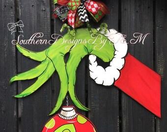 Grinch hand door hanger, Christmas door hanger, Christmas decor, wooden door hanger