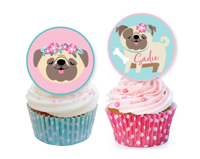 Pug cupcake toppers or bunting - Pink Pug Birthday, Dog Birthday Party, Dog Cupcake Toppers, Pug, Dog Puppy Toppers, Digital files