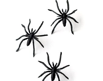 Spider Cupcake Rings, Black Spider Cupcake Toppers (set of 12), Halloween Cupcakes, Halloween Party Favors