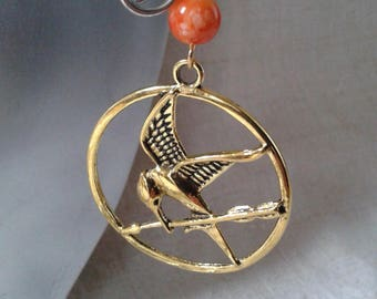 "Earrings ""golden bird and Pearl"""