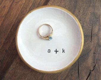 Ring holder, Ring dish, Wedding ring dish, engagement ring holder, Engagement Gift, Wedding Gift, Black, White, Gold, Made to Order