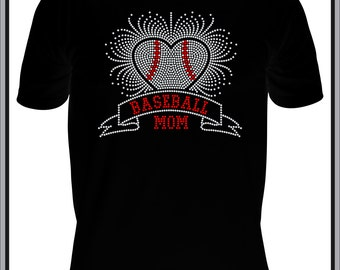 Baseball Mom shirt baseball mom bling shirt baseball mom rhinestone bling shirt baseball bling shirt Rhinestone Bling Shirt