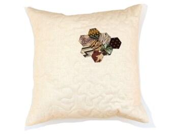 Autumn pillow, pop of color brown taupe, linen pillow case, 16 inch pillow insert, throw pillow, hexagons, quilted pillow