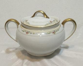 Noritake Roseleigh Handpainted Japan 1920s Sugar Bowl