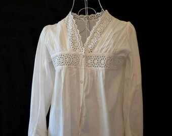 Antique Clothing - Edwardian - Vintage Blouse - Lace Blouse With Broderie Anglaise, Eyelet Lace - Bust 81 cm