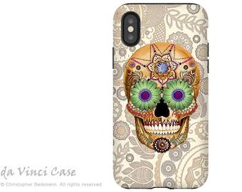 Bone Paisley Sugar Skull iPhone X Tough Case - Dia De Los Muertos Dual Layer Case for Apple iPhone 10