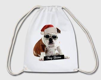 Christmas doc Christmas dog sports bag bag backpack gift for Christmas, birthday or Easter