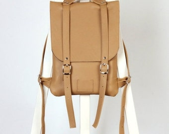 SALE! / Nude leather backpack rucksack / In stock / Leather backpack / Leather rucksack / Womens backpack / Gift