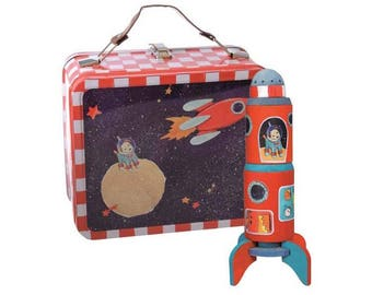 Paint Kit / rocket wood to assemble, paint and decorate / creative kids DIY Kit is presented in a metal case