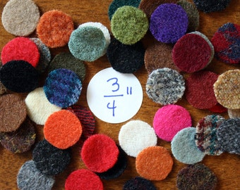 Wool Circles -- 50 - 3/4 inch Circles for Wool Penny Rugs -- Precut Recycled Felted Wool Circles -- Wool Pennies
