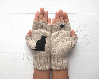 Cat Gloves, Cat Lover Gift, Mother's Day Gift, Inspirational Women Gift, Gift For Her, Gift For Mom, Women Mitten, Gift For Mother, Cat Gift