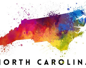 North Carolina - State Abstract Watercolor - Lantern Press Artwork (Art Print - Multiple Sizes Available)