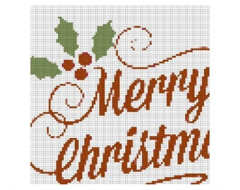 Merry Christmas Cross Stitch Pattern, Needlepoint, Embroidery