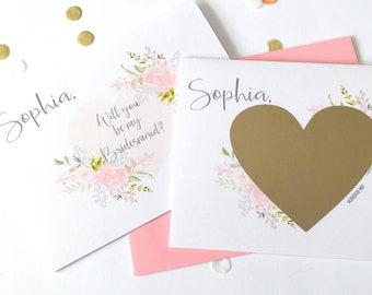 Personalisierte Brautjungfer Vorschlag Scratch Off Karte - wird Sie meine Brautjungfer - Hochzeit Vorschlag - abkratzen - rosa - rot Braut