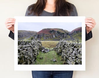 Teesdale County Durham landscape photography print. Bleak English countryside winter photograph, stone wall art, print by Diana Pappas