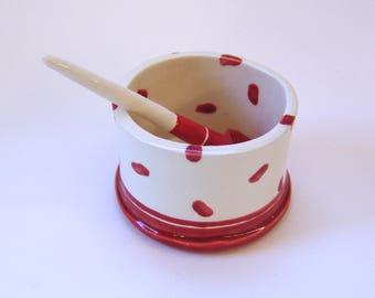 whimsical pottery Serving Bowl w/ handmade ceramic spoon red & white polka-dots, salt dish, condiment dish, sugar bowl