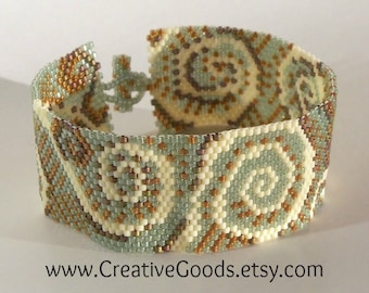 Sand and Sea Foam Bracelet Pattern - Peyote Pattern