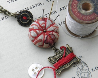 Sewing Necklace with a Tiny Pincushion and Thread Winder, Russet Leaves
