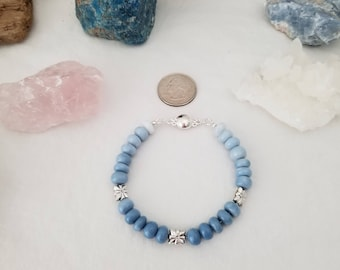 Peruvian Blue Opal And .925 Sterling Silver Bracelet With Sterling Silver Magnetic Clasp