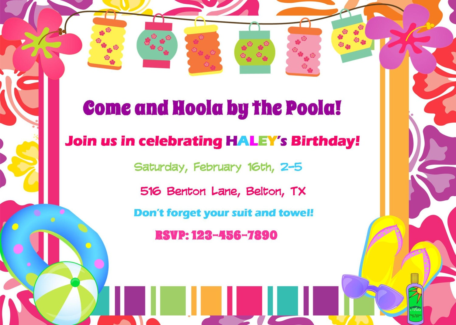 Luau Pool Party Invitation Birthday Baby Shower Digital