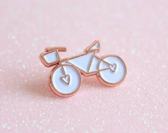 Rose Gold & White Enamel Bicycle Pin, lapel pin, Bicycle Enamel Pin, Bicycle Brooch, Gift For Cyclists, Stocking Filler, Stocking Stuffer