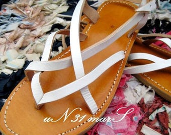 Handcrafted white satin caramel soles leather sandals