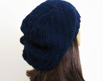 Navy Blue Crochet Slouchy Hat Oversized knit Slouch Hat Dark Blue Slouch hat crochet women's hat Blue Knit oversize Tam Oversize  Beanie