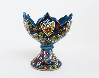 Handmade Ceramic Goblet, Floral Clay Bowl, Colorful Home Decoration, Ceramic Home Decor, Gift, handmade pottery, glazed ceramic bowl