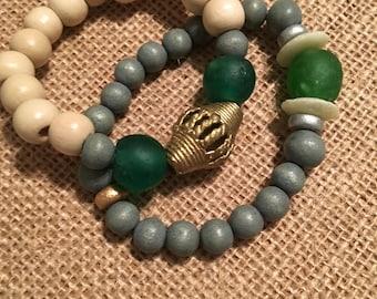 Green & Gray Bracelet Stack