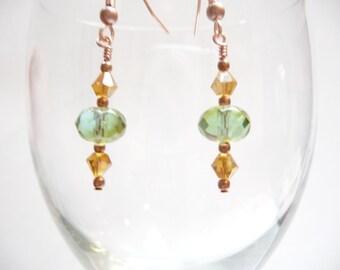 SALE Genuine Copper Green Czech Glass Amber Dangle Earrings