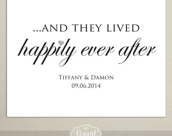 And They Lived Happily Ever After - Printable Wedding Sign - Personalized