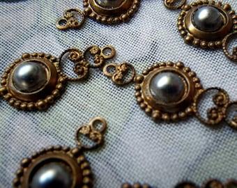 Grey Vintage Wax Pearl Glass Fancy Filigree Drops 6 Pcs