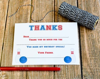 Kids Fill In the Blank Bowling Thank You Notes / Kids Thank You Notes / Childrens Bowling Thank You Note Cards / Fill In The Blank Notes