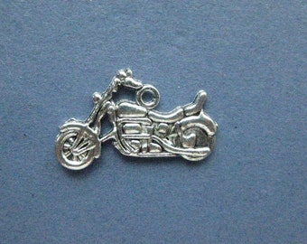 10 Motorcycle Charms - Motorcycle Pendant- Motorcycle Charm - Bike - Motorcycle - Antique Silver - 18mm x 25mm -- (No.114-12023)
