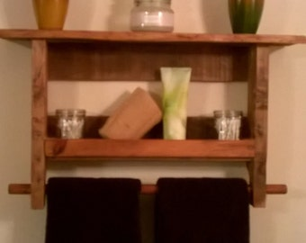 Rustic towel rack shelf