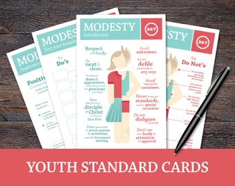 The 24/7 Project: Modesty; Youth Standard Cards, LDS Young Women activity, personal progress, FHE