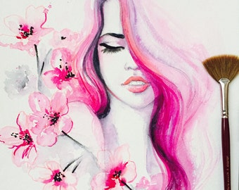 Cherry Blossom, Fashion Art, Fashion Illustration, Fashion Watercolor, Blossom Beauty, Original Painting by Lana Moes, Pink Art
