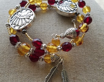 FSU College Seminole colors, memory wire, wrap bracelet  Garnet and Gold, with osceola seminole and feather charms