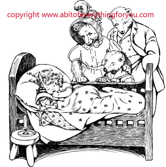 3 bears fairy tale printable vintage art clipart png download digital image graphics black and white artwork