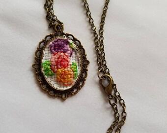 Antique Style Cross Stitch 3 Roses Pendant