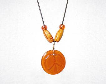 Glass Peace Sign Pendant Necklace, Peace Pendant, Peace Jewelry, Terracotta Color