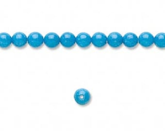 300pcs 4mm Turquoise Blue Natural Gemstone Beads Mountain Jade Round 3 x 16 In Strands