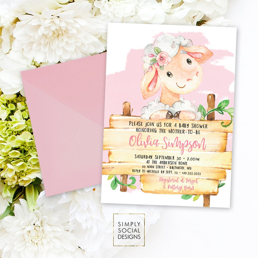 Pink Lamb Baby Shower Invitation - It\'s a Girl Watercolor Sheep Farm ...