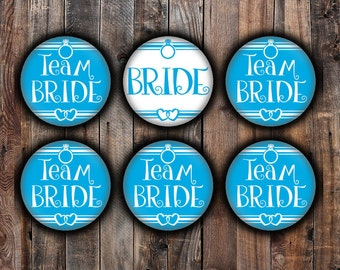 Blue Bride and Team Bride pins, 2.25 inch, for bachelorette, shower, wedding