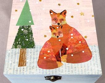 Christmas Snowy Foxes Large Jewelry Box, Large Wooden Box, Christmas Trinket Box, Jewelry Organizer, Handmade Christmas Gift Box