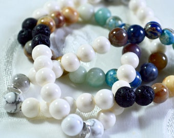 Semi-Precious Stone and Glass Bracelet - Handmade with Sterling Silver Ring for Charm - **OPTIONAL DISCOUNT with purchase of vintage charm!