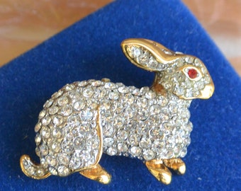 KJL Rabbit Brooch - Signed, Sparkling Rhinestones, Red Eye - Free US Shipping - Vintage - Fabulous!