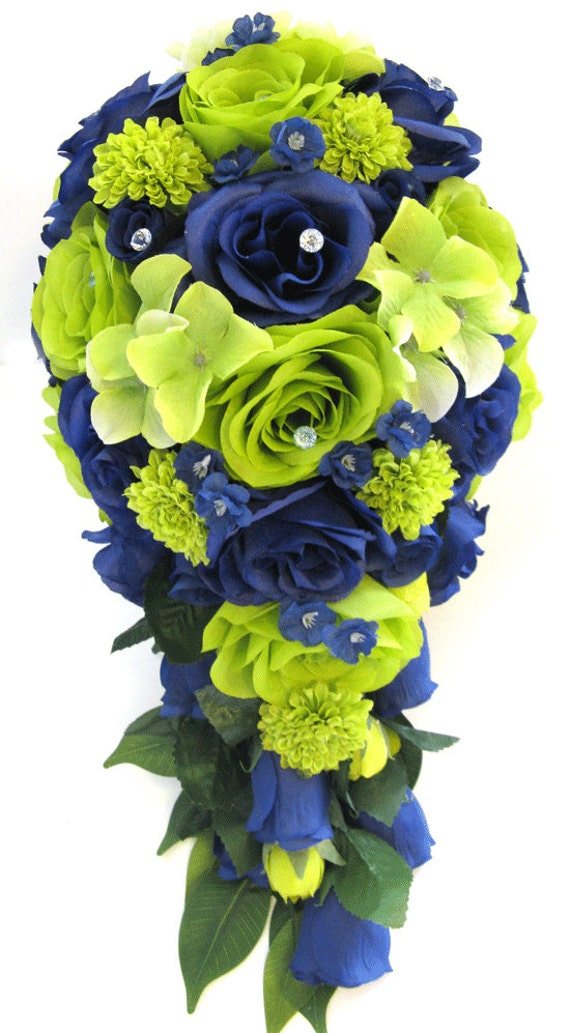 Wedding bouquet flowers bridal silk 17 piece package lime mightylinksfo