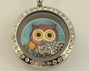 Memory Floating Charm Locket Necklace -Owl-Small