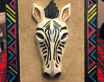 "Hand Painted Very Unique Three D African Zebra On Burlap 10""Hx""13""Wx.5""D  W0225"